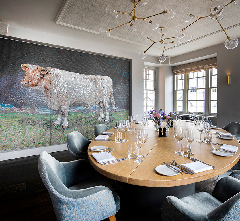Table set up for dining in the Bull Room